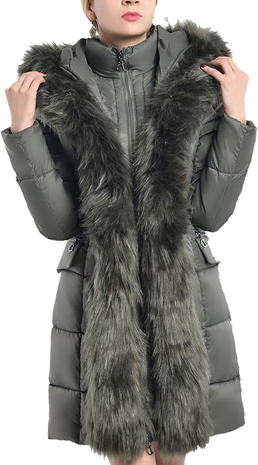 Flygo Women's Thick Slim Fit Mid Long Hooded Down Coat Jackets Removable Faux Fur Collar
