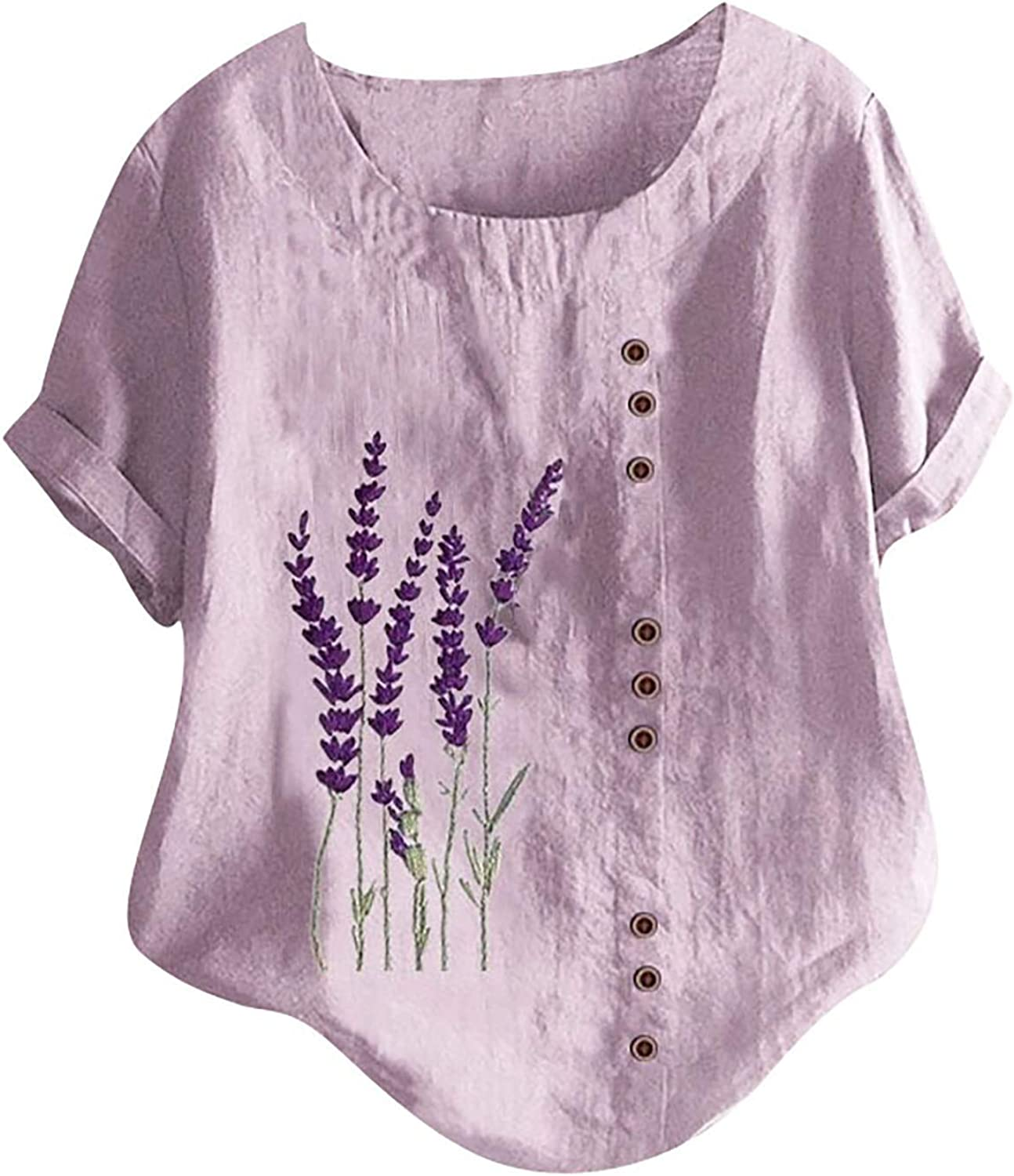 Womens Summer Casual Cotton Linen Tunic Tops O-Neck Lavender Flowers Printing Loose Pullover Blouse T-Shirt Top