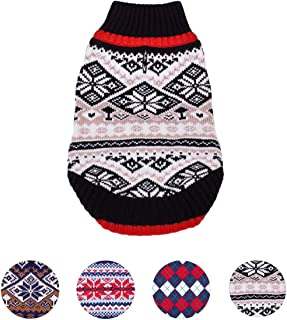 Blueberry Pet 8 Patterns Nordic Fair Isle Snowflake Interlock Dog Sweater and Matching Sweater for Pet Lover