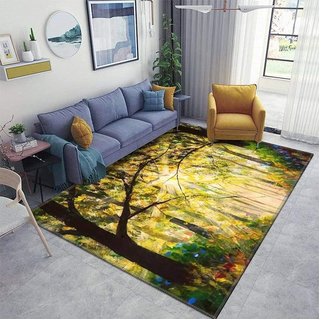 Sunny New Shipping Free Forest Wood Trees Popular product Original Oil Sun Painting in Road Summer