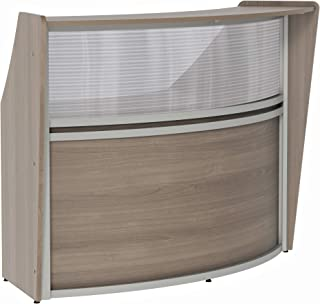 Linea Italia Curved Reception Desk, Single Unit, Clear Panel, Walnut Laminate, Modern Office Lobby, Perfect for Small Spaces, Receptionist, Secretary