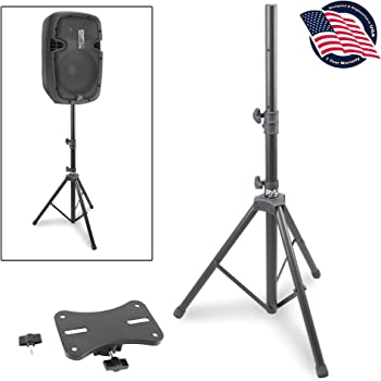 "Universal Speaker Stand Mount Holder - Heavy Duty Rubber Capped Tripod w/ Adjustable Height from 59.1"" to 82.7"" Locking Safety PIN & 35mm Compatible Insert On-Stage or In-Studio Use - Pyle PSTND1"