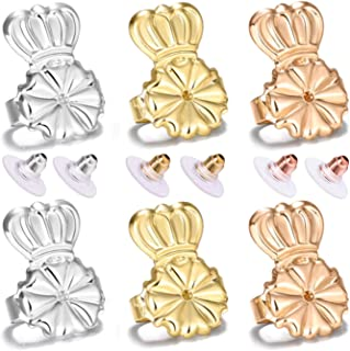 Magic Earring Lifters and Earring Backs Pack – 3 Pairs of Hypoallergenic Adjustable Earring Lifts and Earring Bullets Backs – Perfect for Drooping Earrings (1 Silver/1 Gold/1 Peach Gold)