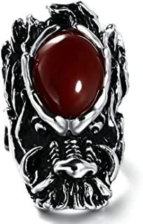 Stainless Steel Rings for Men Wedding Ring Silver Black Dragon Red Cubic Zirconia Ring