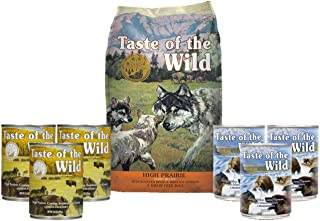Taste of the Wild Dog-Food High Prairie Puppy Food Grain Free 5lb Bag 1 Bag 6 Cans & 1 Lid Plus 1 Dog Toy and 1 Leash 10 Total Items