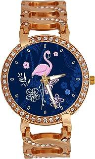 jkfgweeryhrt - Verano Tropical con flamencos de Las Mujeres Reloj de Pulsera analógico Banda de Pulsera de Cuarzo con Cadena Rose Oro Tono Acero Inoxidable Lady Vestido Reloj