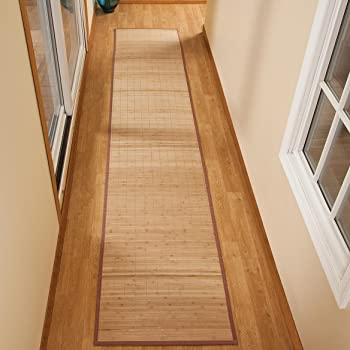 """Miles Kimball Bamboo Non-Slip Runner with Nylon Trim, 23"""" x 118"""" – Narrow Rubber Backed Bamboo Runner with Water Resistant Capabilities for Kitchen, Sunroom, Hallway & Entranceway"""