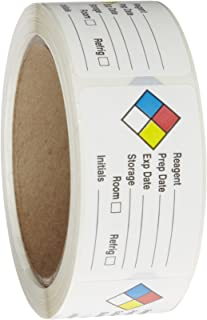 Roll Products 163-0014 Litho Removable Adhesive HMIG Label with 4 Color Imprint, Reagent Name (with blank), 2-1/2