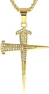 HZMAN Antique Nail Cross Stainless Steel Pendants Christian Necklace (P80115)