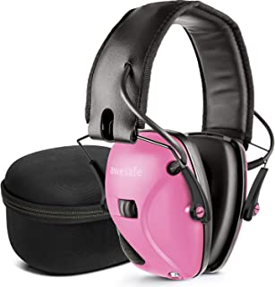 awesafe Electronic Shooting Earmuff, Noise Reduction Sound Amplification Electronic Safety Ear Muffs and Storage Case, Pink