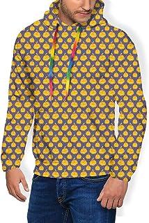 GULTMEE Men's Hoodies Sweatershirt, Halloween Spooky Smiling Fruits Pain Splashes,5 Size