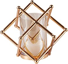 Geometric Glass Small Candle Holder-Elegant Modern Aroma Candle Holder, Light Luxury Home Decoration Ornaments-Gold 20x17cm