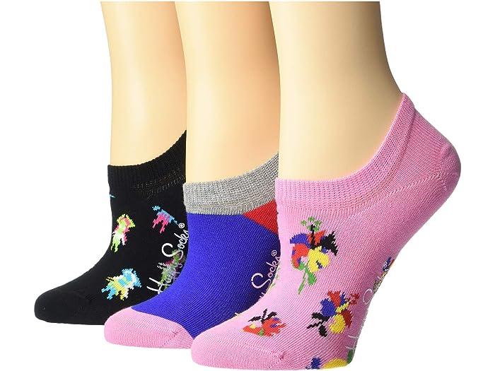 Happy Socks 3-Pack Hibiscus Sneaker
