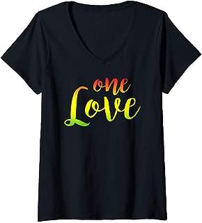 Womens One Love - Rasta Reggae Roots Clothing Peace Love V-Neck T-Shirt