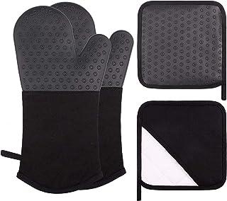 Webake Rękawice silikonowe Bardzo długie antypoślizgowe rękawice kuchenne 1 para z 2 szt.Uchwytów do garnków do gotowania ...