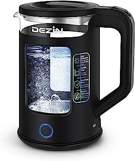 کتری برقی دزین ، کتری چای برقی دو جداره با شیشه پنجره ، LED دو رنگ با عملکرد گرم ، کتری آب گرم 1.5 لیتری با خاموش شدن خودکار و فن آوری محافظ خشک در برابر قهوه ، چای