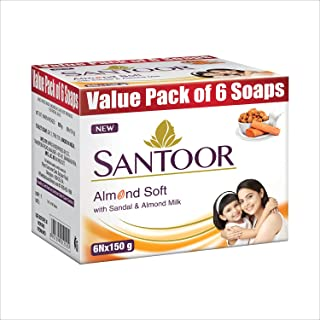 Santoor Sandalwood and Almond milk Organic Soft Bath Soap for Softer, Smoother and Moisturised Skin, Combo Offer 150 g pac...