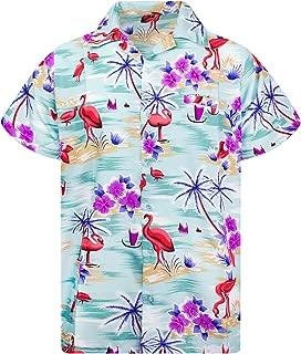 Hawaiian Shirt for Men Funky Casual Button Down Very Loud Shortsleeve Unisex Flamingos