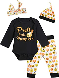 Baby Girls' 4PCS Outfit Set Pumpkin Romper Halloween Pants and Hat with Headband