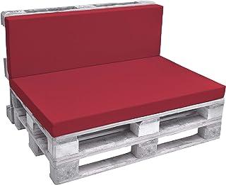 Beautissu Eco Pure Cojín Respaldo para palés Acolchados Tapicerías In/Outdoor Europalés 120x40x8cm Rojo
