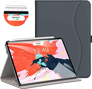 Ztotop for iPad Pro 12.9 Case 2018, Leather Folio Stand Case Smart Cover for 2018 iPad Pro 12.9-inch 3rd Generation (Supports iPad Pencil Charging) with Auto Sleep/Wake Strap Pocket - Dark Gray