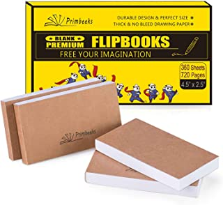 """PRIMBEEKS Premium Blank Flip Book Paper, 360 Sheets (720 Pages) No Bleed Flip Books Kit, 4.5"""" x 2.5"""" Animation Paper for Animation, Sketching, Cartoon Creation."""