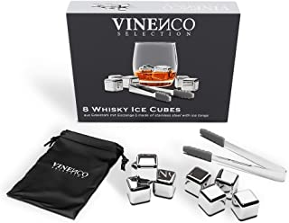 Whisky Steine Set - 8 Wiederverwendbare Edelstahl Eiswürfel, Zange  Stoffbeutel, Whiskey Ice Cubes Metall Kühlsteine Bar Zubehör Cocktail Rocks Gin Stones Dekorationszubehör Geschenk Whiskysteine