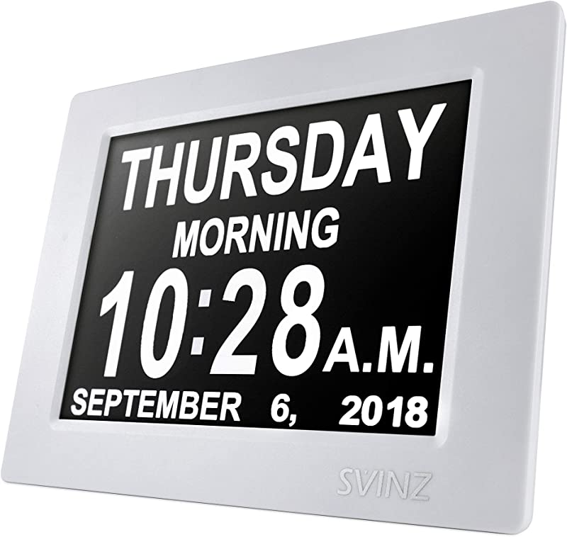 SVINZ 8 Digital Calendar Alarm Day Clock With 3 Alarm Options Extra Large Non Abbreviated Day Month SDC008 2 Color Display Settings