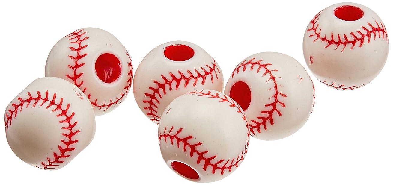 Darice B03-215COL Plastic Baseball Bead 12MM 12PC, Multicolor