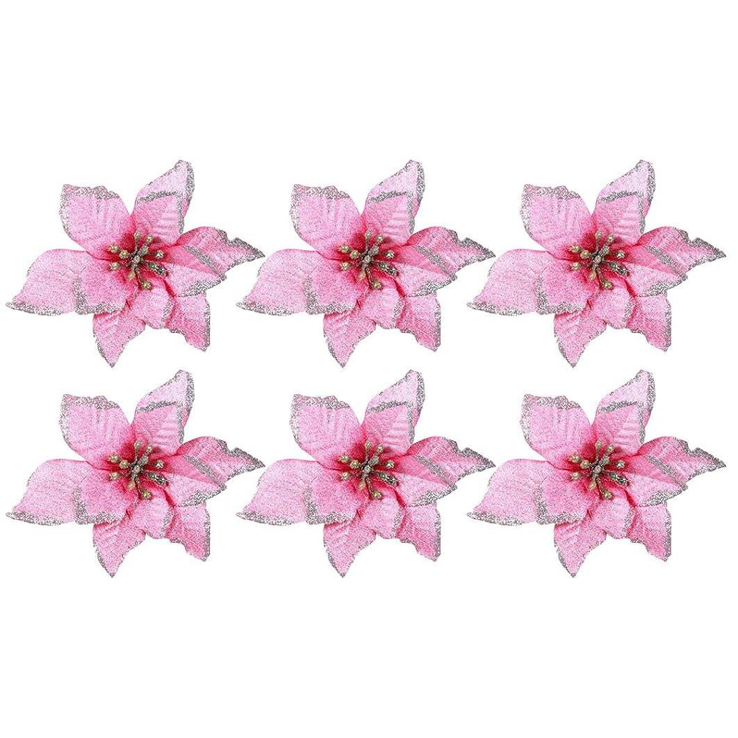 ぴったり自動的にジャーナルZhuhaitf クリスマスツリー デコレーション 6Pcs Wedding Party Decor Christmas Artificial Flowers Xmas Tree Decorations 15cm/5.9inch