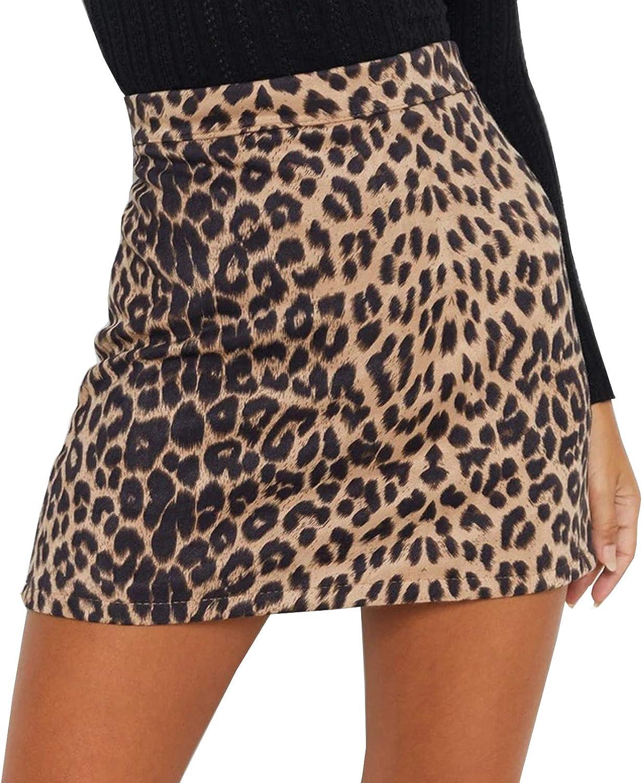 TONCHENGSD Women's Faux Suede Leopard Print High Waist Zipper A-Line Bodycon Mini Skirt