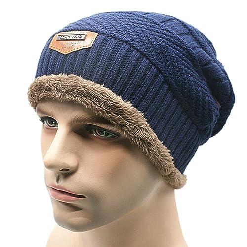 553b41cacfd Kafeimali Men s Knit Skull Caps Ski Fall Winter Slouchy Beanies Warm  Hip-hop Hat