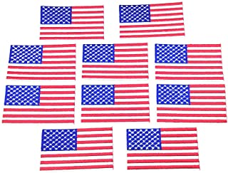 10pcs USA Flag Patches Iron On Embroidered American US United States Flag Clothing Patch Appliques Badge Sticker 1.77x3.15 Inch