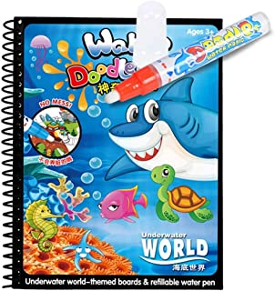 Mumoo Bear Cartoon Water Coloring Magic Book With Water Pen, Aqua Doodle Drawing Toys Coloring Book Reusable Education Lea...