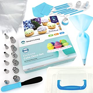Smart Living Cake Decoration Set | 50 Pieces Kit | Top-Grade Stainless Steel Bakery Supplies | Set of 6 Russian Piping Tips, 6 Cone Tips, 1 Spatula, Scraper, Cupcake Corer, Fantang Tool and More