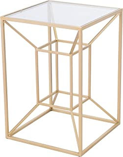 Zuo Modern Side Table Gold Canyon, Clear & Gold