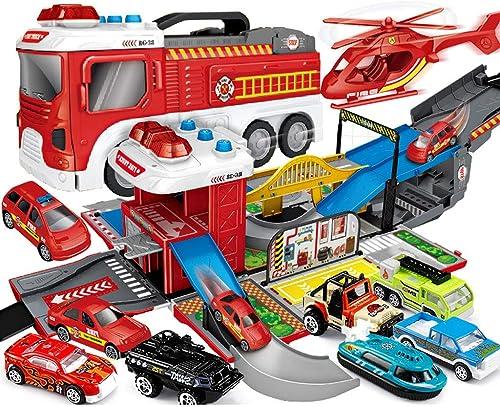 Feuerwehrauto, Technisches fürzeug, Polizeiauto, Milit uto, Kinderspielzeugauto, Parkauto-Verformungsspielzeugauto, Kinderspielwagenset (mit leichter Musik) - 1 Flugzeug und 8 Alloy-Cars