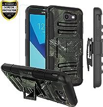Cmore Compatible with Samsung Galaxy J3 2017 Case Heavy Duty,J3 Emerge/J3 Prime/J3 Eclipse/J3 Mission/J3 J3 Luna Pro S327/Amp Prime 2/Express Prime 2/Sol 2 Case w/Belt Clip/Glass Screen Protector,Camo