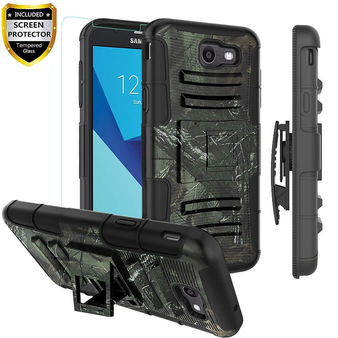 Galaxy J3 2017 Case Heavy Duty,J3 Emerge/J3 Prime/J3 Eclipse/J3 Mission/J3 J3 Luna Pro S327/Amp Prime 2/Express Prime 2/Sol 2 Case with Belt Clip w Tempered Glass Screen Protector,Camo