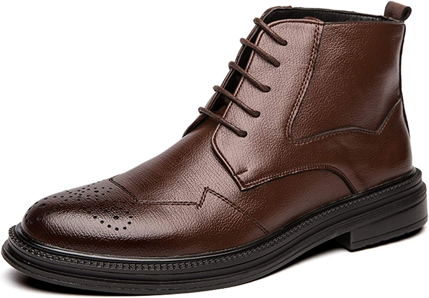 Battle Time sale Men Oxford Boots for Lace Medallion Pointed Toe Up Max 58% OFF Sy
