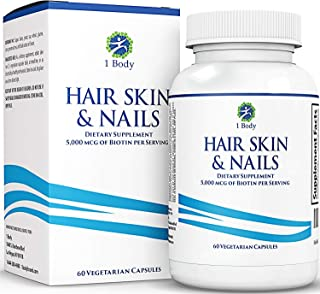 Hair Skin and Nails Vitamins - Supports Hair Growth & Restoration - Biotin 5,000 mcg - Unique Extra Strength Formula with ...