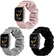 Recoppa Compatible for Scrunchie Apple Watch Band 38mm 42mm 40mm 44mm Cute Print Elastic Watch Bands Women Bracelet Strap ...