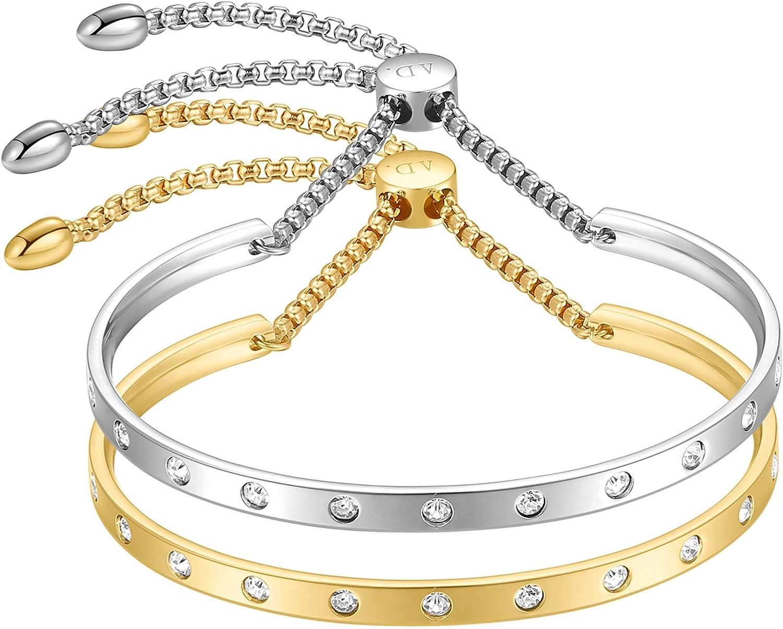 ALLEN DANMI Jewelry Cubic Zirconia 18 K Gold/Rose Gold/White Gold Cuff Bangle Bracelet Adjustable Chic Link Chain Bracelet Shining Luxury Gift for Women.