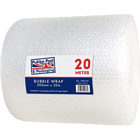Pukka Pad, Pukka Post – Protective Bubble Cushioning Wrap for Packaging and Mailing, Small Air Bubbles, 300mm x 20m Roll, Clear
