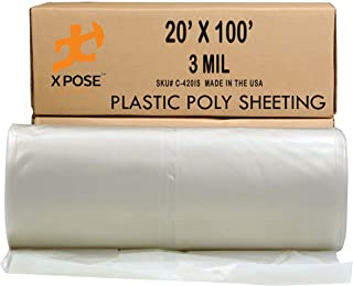 Clear Poly Sheeting - 20x100 Feet – Heavy Duty, 3 Mil Thick Plastic Tarp – Waterproof Vapor and Dust Protective Equipment Cover - Agricultural, Construction and Industrial Use - by Xpose Safety