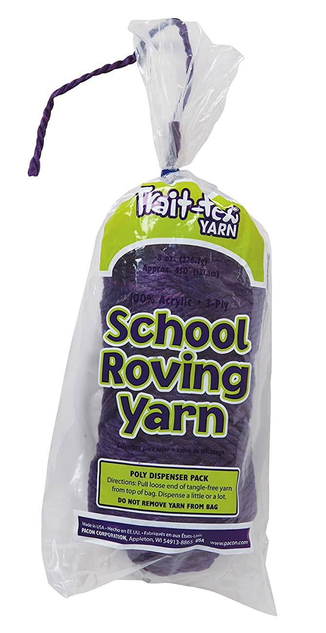 Trait-tex 3-Ply School Roving Yarn Skein, Purple, 150 Yards