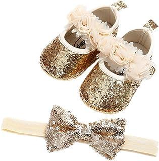 Auxma Babyschuhe für 0-18 Monate, Baby Mädchen Bequeme Anti-Rutsch Prinzessin Kleinkind Schuhe Krabbel Hausschuhe mit 1 PC Stirnbänder Haarband