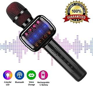 Micrófono inalámbrico, micrófono de karaoke Bluetooth portátil con altavoz, compatible con iPad, teléfono inteligente PC AUX, batería de larga duración (negro)