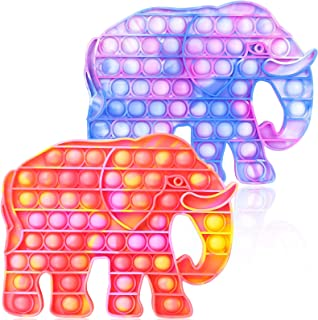 Hoofun Fidget POP Toys It Elephant: 2Pack Silicone Push Bubbles Sensory اسباب بازی اضطراب استرس تسکین دهنده نیازهای خاص فشار دادن Fidget Sensory اسباب بازی های فیل برای کودکان و بزرگسالان