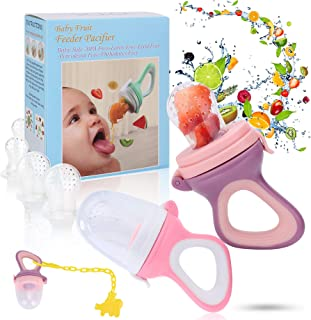 Baby Fruit Feeder Pacifier - Baby Food Feeder - Fresh Food Feeder - Infant Fruit Teething Toy, 2 Pack with 6 Silicone Sac and 1 Pacifier Clip (Purple & Deep Pink)
